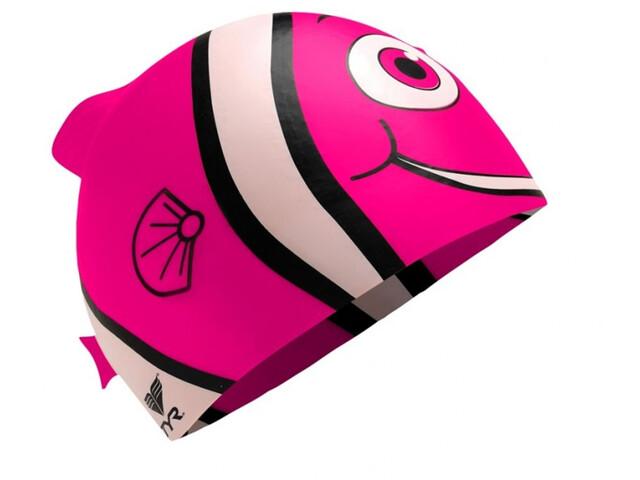 TYR Charactyrs Happy Fish Gorro de natación Niños, fluo pink